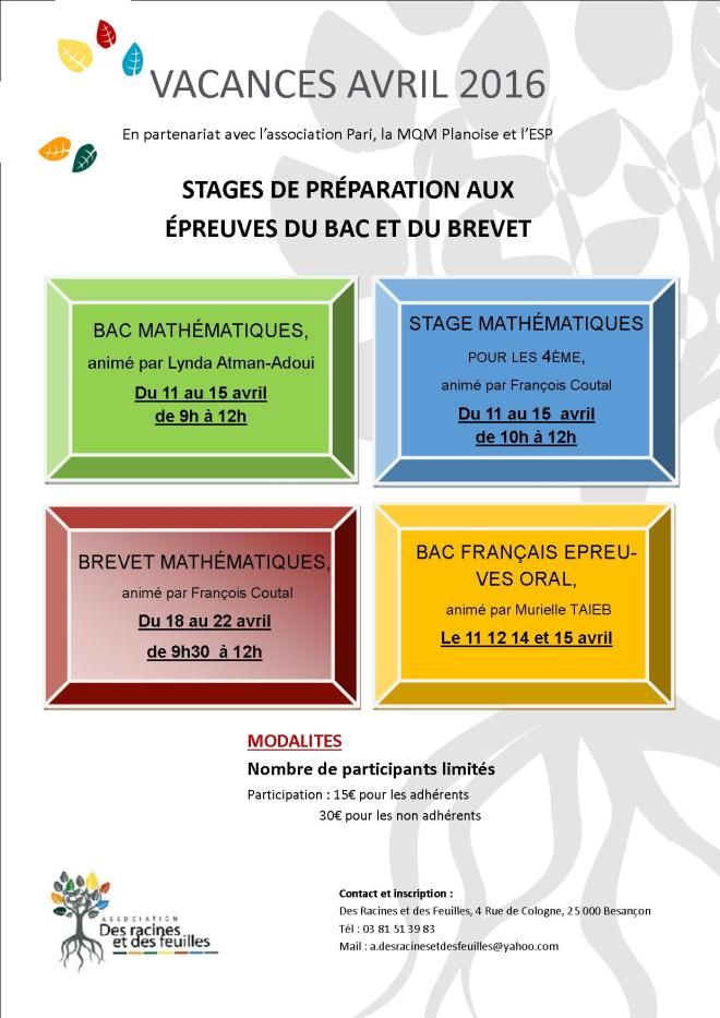 stages vac avril 2016