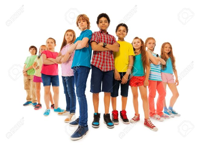 44853783-group-of-dominate-looking-children-boys-and-girls-stand-together-with-closed-hands-and-look-down-con.jpg